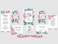 Romantic wedding invitation set floral