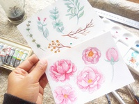 watercolor set flower pink
