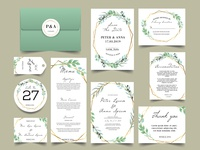 modern geometric with watercolor greenery wedding invitations