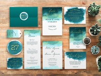 green watercolor abstract wedding invitation