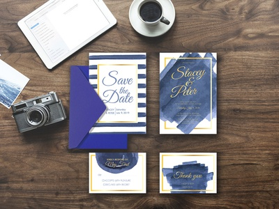 watercolor brushes blue wedding invitation