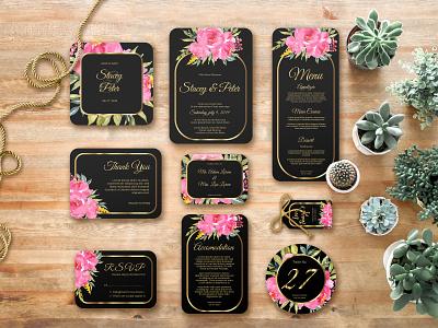 wedding invitation set of watercolor flower pink greeting botanical pink flower decoration spring rose set background frame nature summer card vector watercolor invitation design floral wedding illustration