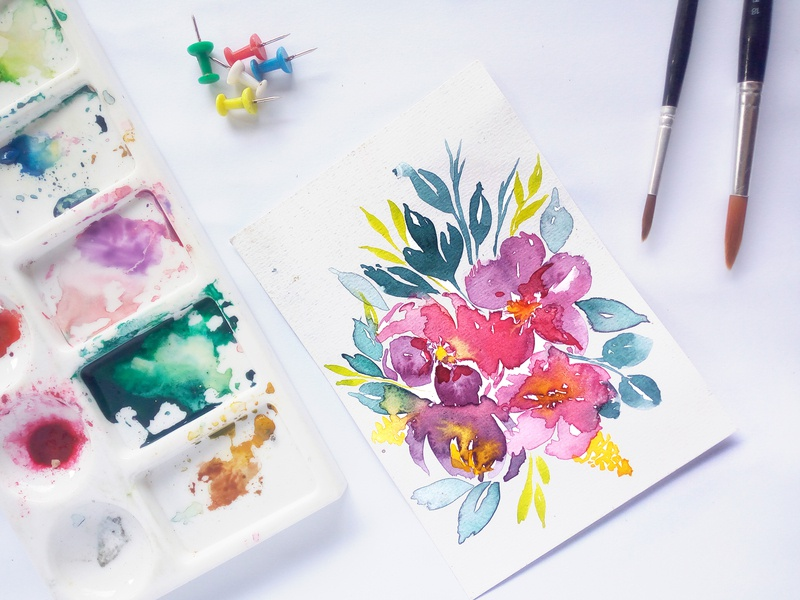 Hand painted watercolor floral bouquet