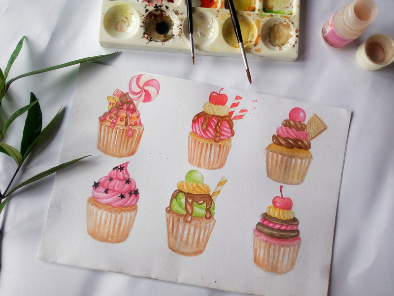 Sweet watercolor cupcake hand painted