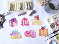 dessert cake watercolor painting