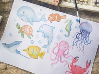 painting watercolor of Animal under sea