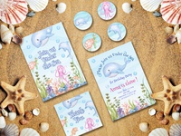 birthday party invitations themed under the sea