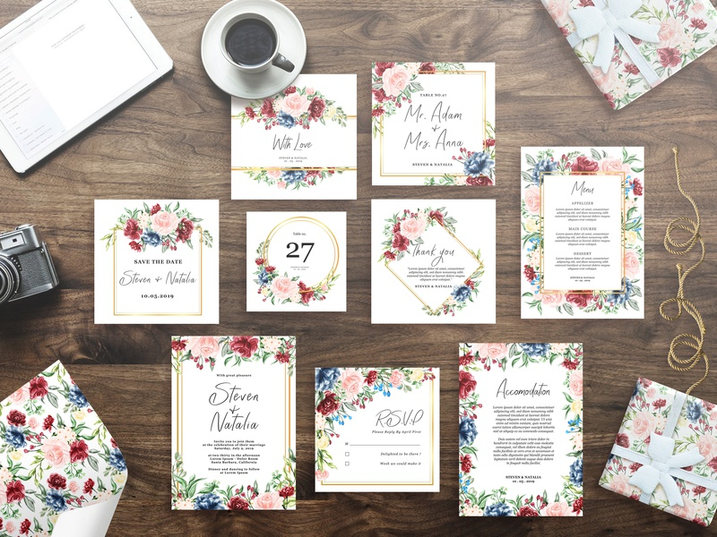 watercolor floral hand drawn ( wedding invitation set, pattern)