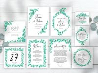 greenery eucalyptus leaves wedding invitation set