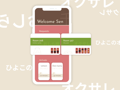 Home  - Spirited Away Bath House App uxui ux homescreen app design illustration app chihiro miyazaki spirited away ghibli mobile ui ui welcome home