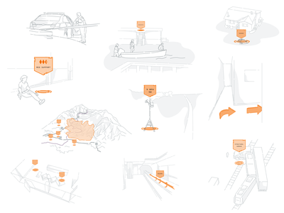 Mixed Reality Virtual Flagging - Concept Sketches vector design app app design hmd head mounted display magic leap concept art concept illustration first responder heads up display hud line illustration concept sketches augmented reality mixed reality