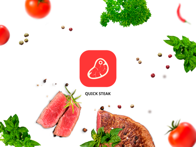 Quick Steak  minimal mobile ux ui app steak rdc meat food design cooking logo