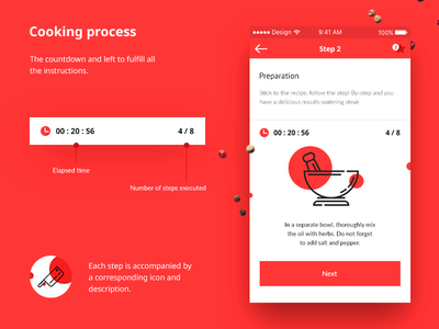 Cooking process minimal mobile ux ui app steak rdc meat food design cooking step
