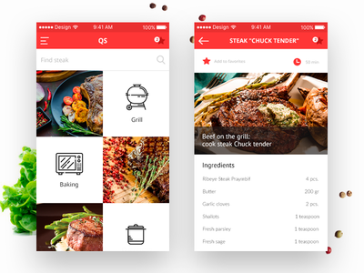 QS minimal mobile ux ui app steak rdc meat food design cooking