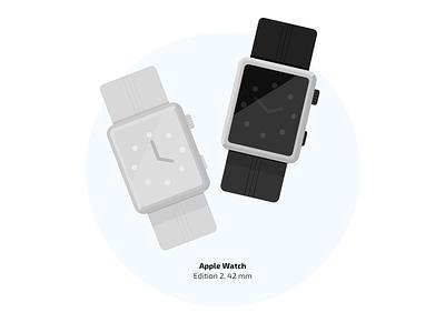 Apple Watch black edition watch time apple illustration flat details clock arrow ai