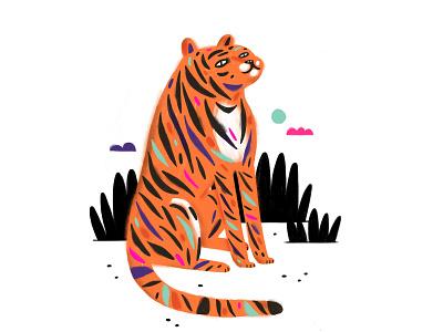 Tiger kids art pro create sketching illustration editorial illustration