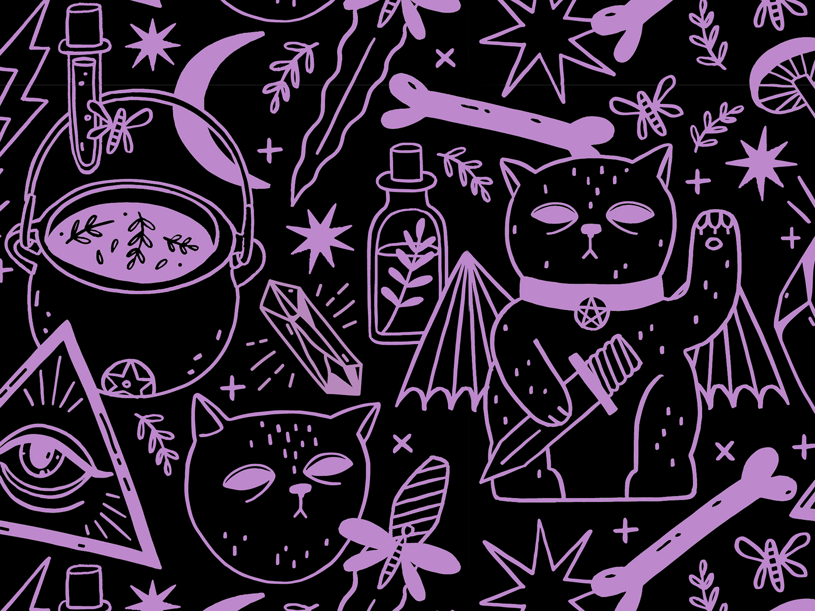 Witchy Pattern By Polina On Dribbble