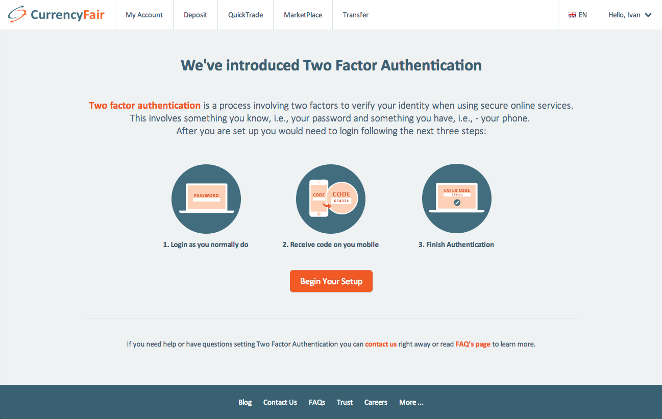 Two factor authentication intro mockup