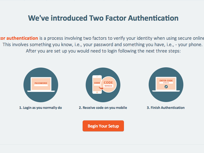 Two Factor Authentication Intro Mockup 2fa authentication landing page currencyfair security