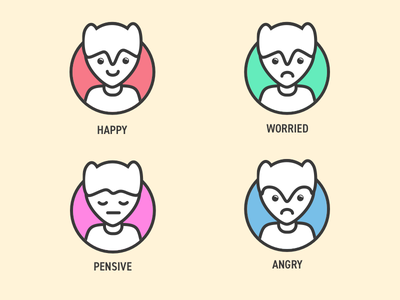 Avatars illustrations angry pensive worried happy emotions personas illustrations users icons profile avatars