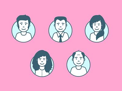 Avatars illustration plays girls guys female male lineart art line profiles illustrations users avatars