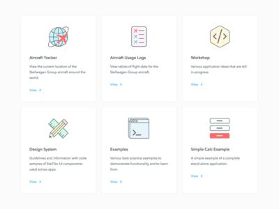 Apps portal illustrations illustrative cards icons tiles portal apps