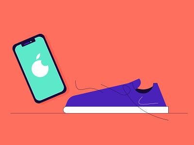 Apple & Nike illustration article illustration branding iphone phone sneakers shoe nike shoes apple design brandenstein digital illustration flat illustration vectorart vector vector illustration illustration illustrations adobe illustrator
