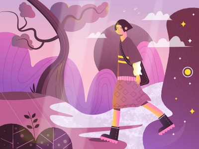 space traveler illustration brandenstein clouds girl illustration girl character bonsai gradient color girl character design universe forrest texture brushes texture flat illustration digital illustration illustrations vectorart vector adobe illustrator illustration vector illustration