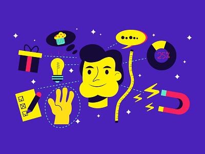 customer centricity illustration brandenstein customer hand drawn magnet lightbulb muffin present chart character design vector illustration digital illustration vector illustration adobe illustrator