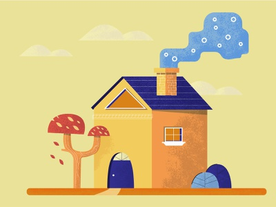 house in the woods illustration mushroom autumn autumn leaves textured illustration illustrations digital illustration vectorart vector adobe illustrator illustration door clouds leaves chimney smoke tree house house illustration 2dillustration vector illustration