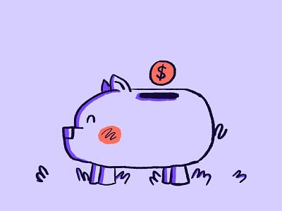 Piggy Bank Illustration adobephotoshop uiillustration websiteillustration website coin characterdesign 2dillustration benefits vectorart digital illustration illustrations vector illustration vector illustration piggybank pig