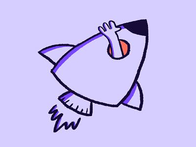 Rocket Illustration galaxy mascot spaceship launch space graphic design digital illustration sketch 2dillustration branding brushes spacerocket doodle wavinghand rocket illustrations handdrawing photoshop illustration