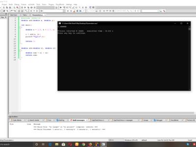 Parameters use work in c Programming