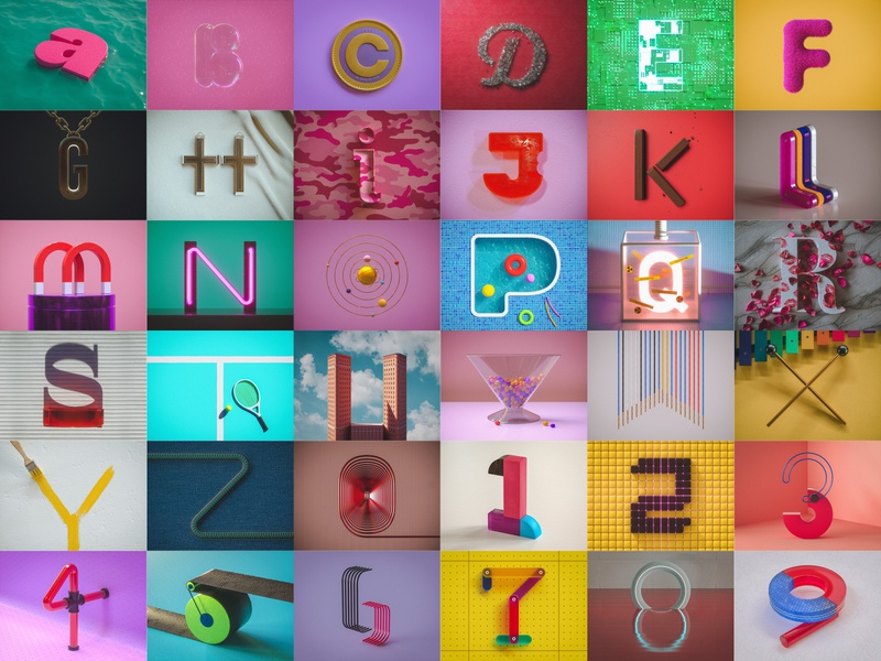 36 Days Of Type cool vibrant color octane render type octane typography render experiment personal project cinema 4d 3d art 3d words numbers letters 36days 36daysoftype 36 days of type