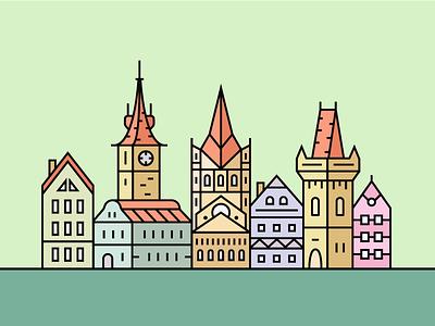Old european city cityscape church castle building architecture vector city town