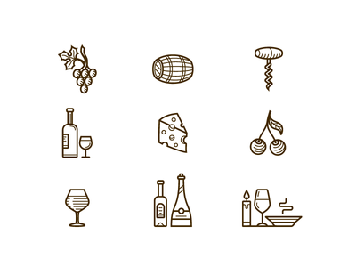 Wine and restaurant icons line dinner glass bottle vector icon restaurant wine