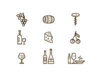 Wine and restaurant icons