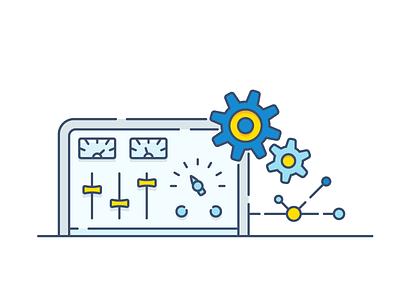 API control panel hosting cdn gear panel control api icon vector
