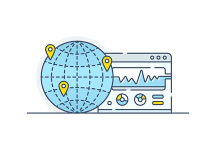CDN - Analyze your traffic vector icon api control panel gear cdn hosting traffic analyze