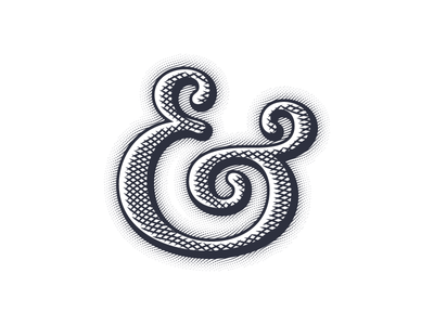 Ampersand engrave typography vector lettering type outline custom ampersand