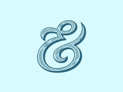 Ampersand #18 ampersand custom outline type lettering vector typography engrave