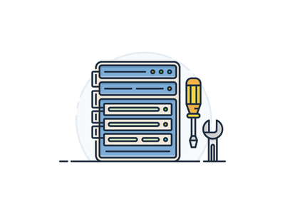 Hosting Support Icon computer linear vector support technical server it hosting tool help