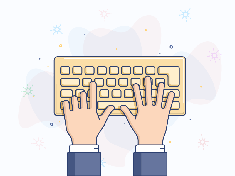 Keyboard illustration icon line vector finger hand keyboard
