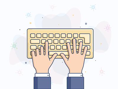 Keyboard illustration icon line vector finger hand keyboard