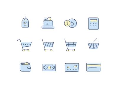 Shopping Icon Set shop cart icon icons shopping coin money card icon set calc