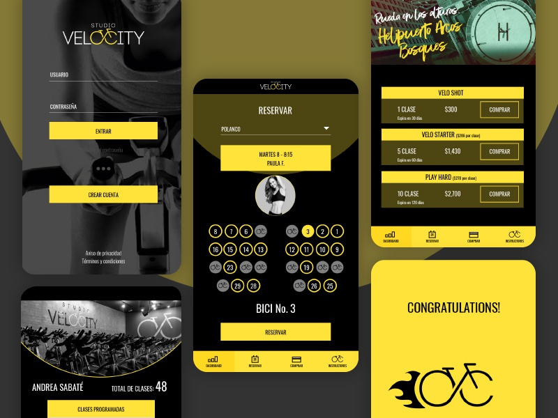 Velocity App reserve mobile extreme sports velocity bike spinning app ux ui look and feel branding texture brand typography minimal flat vector graphic design
