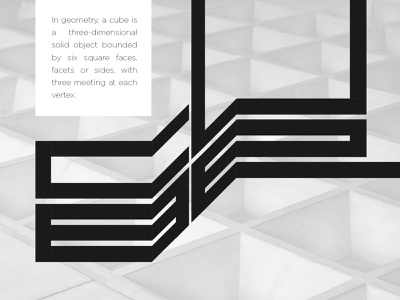 Cube - Perspective & type folded square lettering cube isometric perspective volume abstract type look and feel geometric texture typography minimal illustration flat vector graphic design