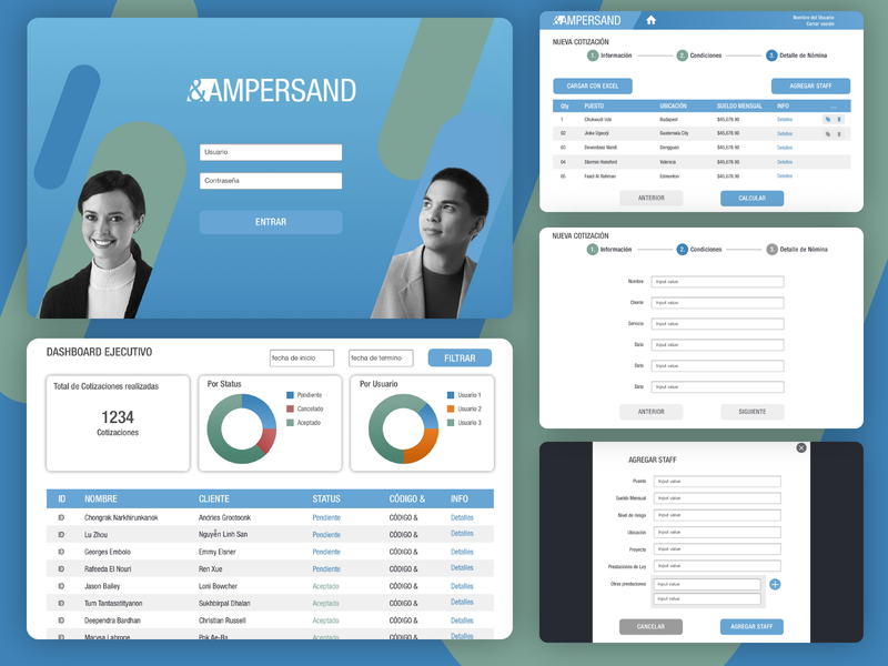 Ampersand - Financial Administrator platform management dashboard financial app website ux abstract ui web type geometric branding texture typography minimal flat vector graphic design