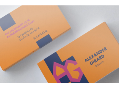 mock Alexander Girard monogrammed business card