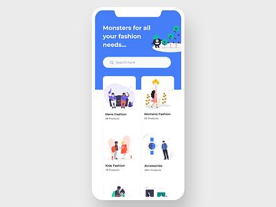 Monster   Fashion App creative home app design chennai dashboard dashboard ui cart flat icon ux branding illustration design app ui